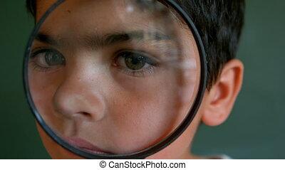 planche, classe, par, vert, magnifier, regarder verre,...