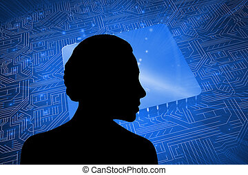 planche, composite, circuit, carré bleu, image