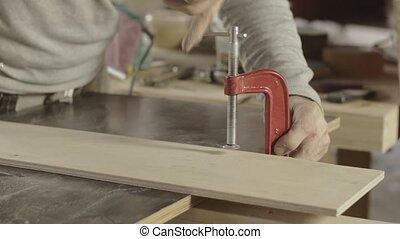 planche, confection, charpentier, professionnel, bois, une, fixation, meubles, another.