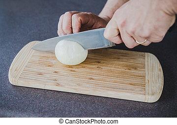 planche, couper, chef cuistot, découpage, oignon