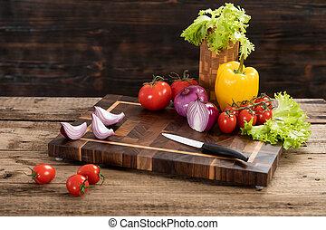 planche, couteau, légumes, découpage, bois