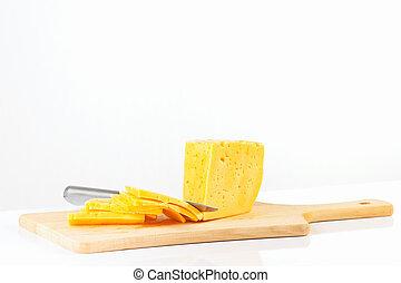 planche, découpage, couteau, fromage coupé tranches