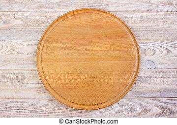 planche, découpage, vide, bois, vue, table., sommet, rond