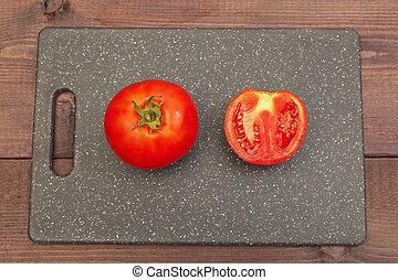 planche découper, table., vue, tomate, above., coupé, bois