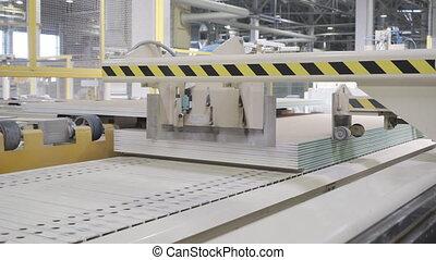 planche, drywall, gypse, usine, fabrication, plant., ou, placoplâtre, atelier, feuilles, conveyor.