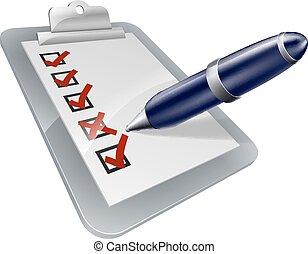 planche, enquête, stylo, icône, agrafe