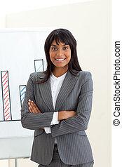 planche, ethnique, bras, femme affaires, devant, plié
