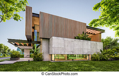 planche, façade, maison, 3d, bois, moderne, rendre, soir