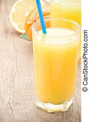 planche, fruits, jus, orange fraîche, bois, verre
