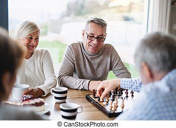planche, groupe, personne agee, jouer, maison, games., amis