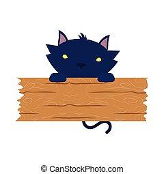 planche, halloween, bois, chat noir