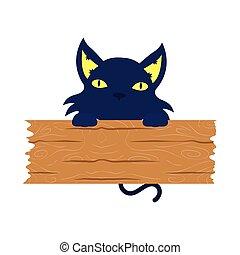 planche, halloween, mascotte, noir, bois, chat