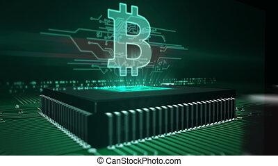 planche, hologramme, bitcoin, unité centrale traitement