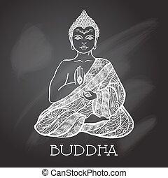 planche, illustration, craie, bouddha