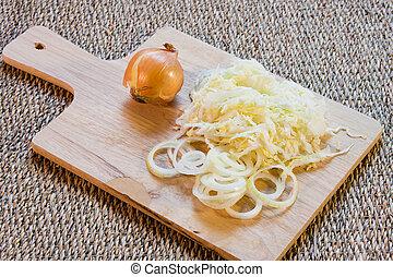 planche, légumes, bois, coupure