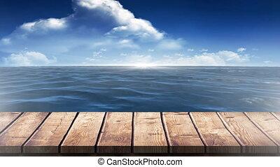 planche, mer, promenade, bois