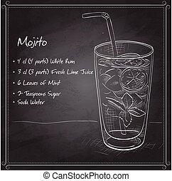 planche, noir, cocktail, frais, mojito