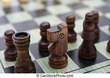 planche, noir, morceaux échecs