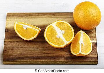 planche, orange, découpage