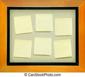 planche, papier, note, bouchon, fond, isolé, jaune, texte