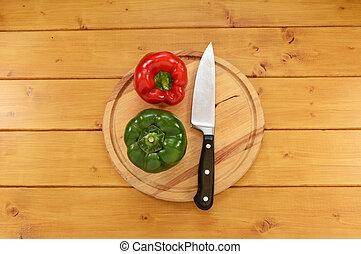 planche, poivres, couteau, rouge vert, couper