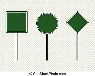 planche, route, transparent, trafic, isolé, illustration, eps, vecteur, signe, vert, arrière-plan., signes, 10