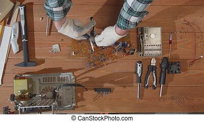planche, sommet, réparateur, casse, parts., vue