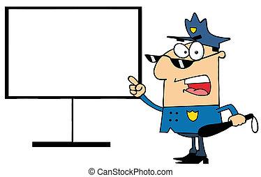 planche, spectacles, gendarme, doigt