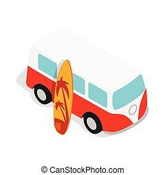 planche surf, autobus, jaune, retro, rouges, icône