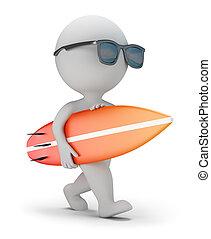 planche surf, gens, -, promenade, petit, 3d