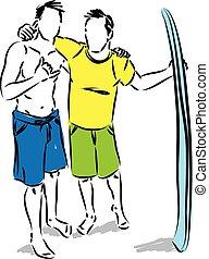 planche surf, hommes, deux, illustration, vecteur, amis