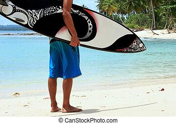 planche surf, prétentieux, surfeur, froussard, plage, frais