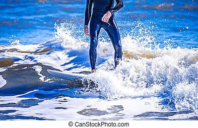 planche surf, vague, mec, océan, équitation, surfeur