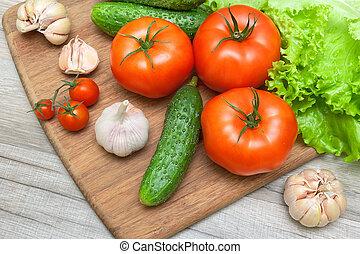 planche, table, légumes frais, bois, découpage