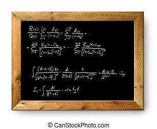 planche, tableau noir, noir, difficile, formule, math