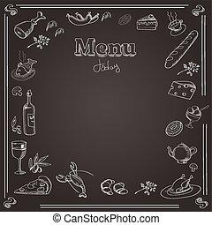 planche, texture, craie, menu, conception