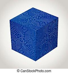 planche, tridimensionnel, stile., boîte circuit