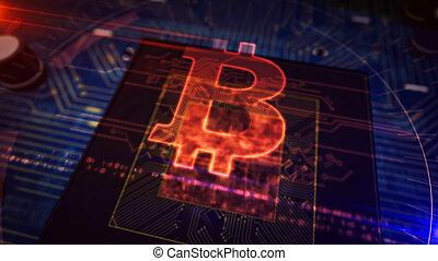 planche, unité centrale traitement, hologramme, exposer, bitcoin