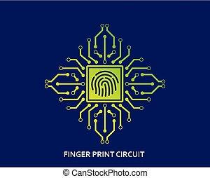 planche, vecteur, circuit, illustration, empreinte doigt