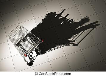 plancher, achats, vide, moule, nourriture, ombre, charrette...
