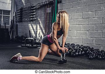 plancher, athlétique, gymnase, club., femme, assied