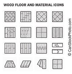 plancher, bois, icônes