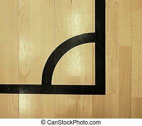 plancher, bois, porté, sports, noir, corner., salle, dehors