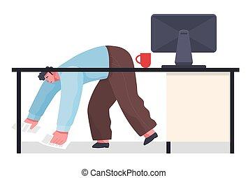 plancher, bureau, chaos, image, ouvrier, papiers, plat, deadline., laissé tomber, bureau, lieu travail