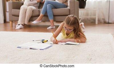 plancher, cahier, étudiant, maison, girl, mensonge