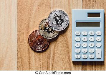 plancher, calculatrice, bitcoin, cryptocurrency, bois, numérique