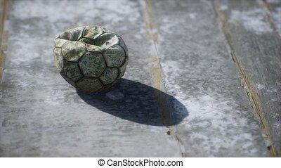 plancher, ciment, football, vieux, balle