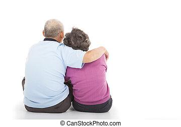 plancher, couple, séance, proximité, personne agee, heureux