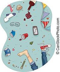 plancher, désordre, maison, après, pieds, fête