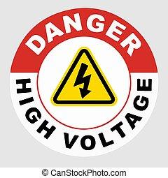 plancher, danger, vecteur, élevé, signe, tension
